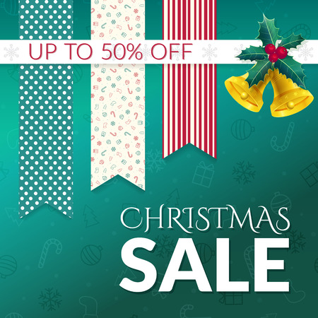 Christmas sale design template with bells, holly and tags.