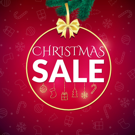 Christmas sale design template on red background