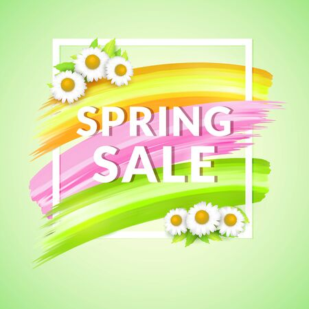 Spring Sale Banner design for promotion. Poster with frame and daisy.