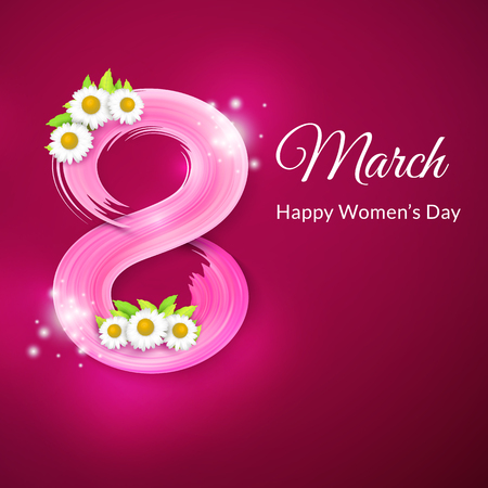 8 March, International Womens Day. Greeting card