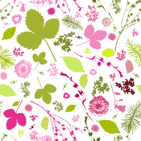 Abstract Seamless pattern with floral elements