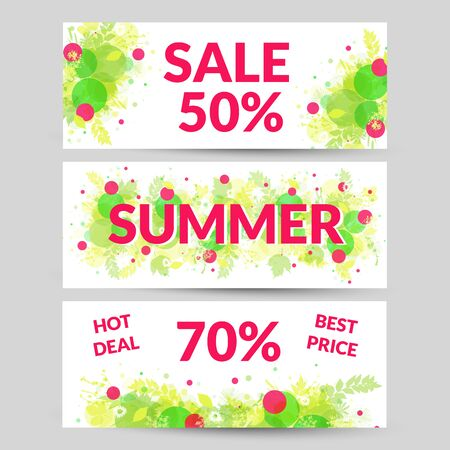 Floral summer sale web banners.