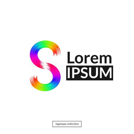 Rainbow abstract logo template. Sign S. Vector