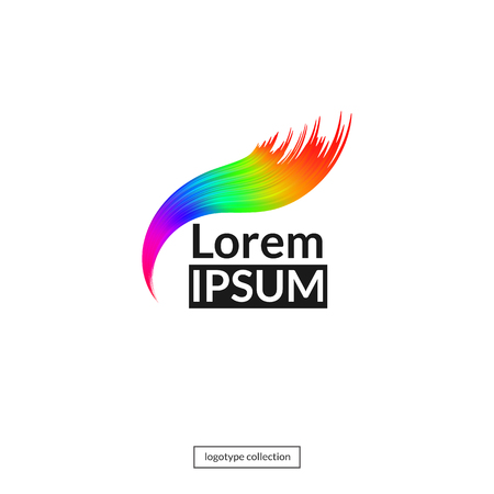 Rainbow logo template. Abstract art design element Çizim
