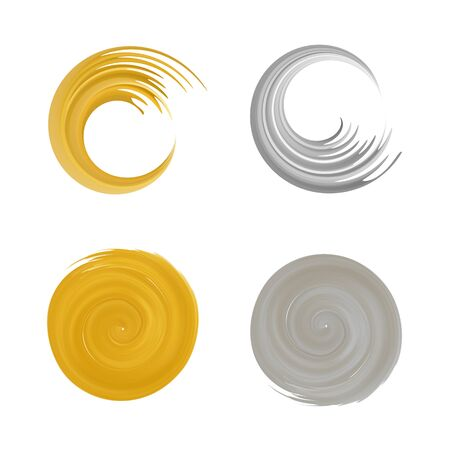 Golden and silver swirl logo set .