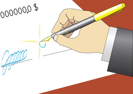 signing: make a contract (agreement, signing) Illustration