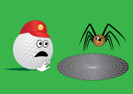 cobwebby: Golf ball end spider (humor) Illustration