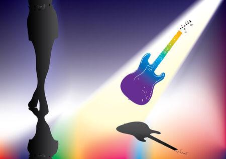 femme avec guitare: Femme & guitare  Illustration