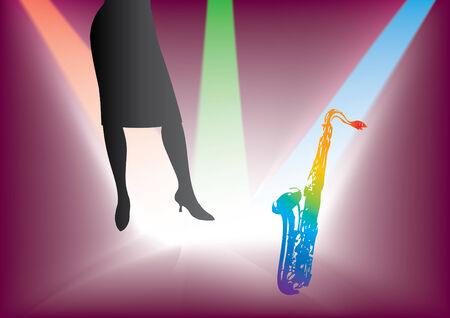 Woman & saxophone Vector
