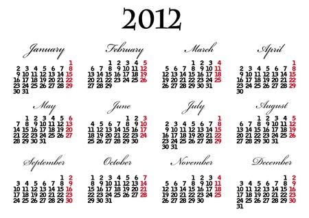 Calendar 2012 Stock Vector - 10467678