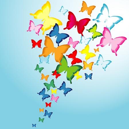 Butterflies flying towards the light