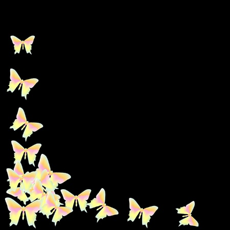 computer dancing: Butterfly on a black background