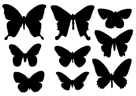 The silhouettes of butterflies Stock Vector - 12491180