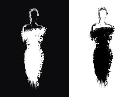 Silhouette of woman in evening dress Vektoros illusztráció