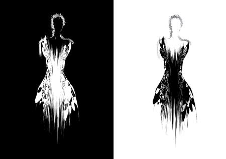 black dress: Silhouette of woman in evening dress