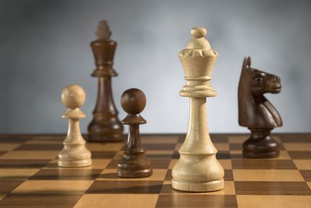 adversary: beautiful wooden chess pieces on wooden chess game board Stock Photo