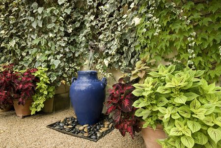 water feature: garden water feature, using a large blue pot,surrounded by wall of ivy and potted planats, gravel floor Stock Photo