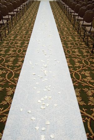 white rose pedal covered walkway,  ceremony