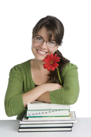 cute happy brunette woman wearing glasses, looking very happy, red flower,