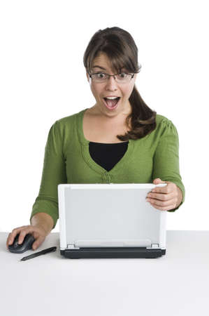 woman shows expressions while using her laptop, simple work props,isolated photo