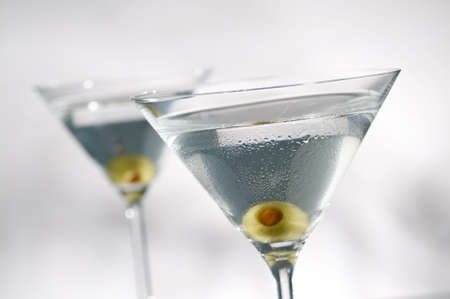 olive martinis, focus is on front glass