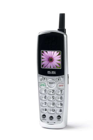 cordless phone on white background, slight shadow,flower on screen photo
