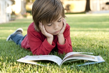 book boy:  Very cute 7 year old boy lying on the grass reading a kids book