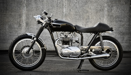 Nice customized vintage cafe racer, most all wires are hidden, oil tank hidden in the gas tank Stock Photo