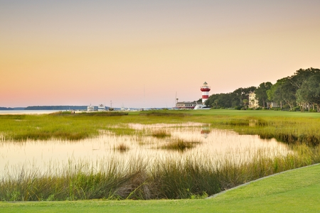 Sunset view of the 18th hole at Harbor Town on Hilton Head island.