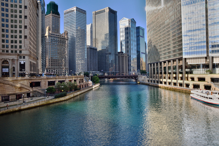 michigan avenue: Famous Chicago river from Michigan Avenue Bridge in summer overlooking skyscrapers. Stock Photo