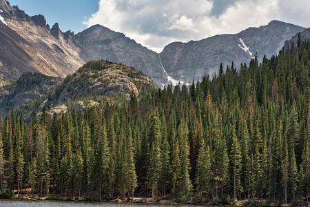 Bear Lake Colorado mountain back-drop with small section of lake in foreground and sun-drenched pines outlining scene.