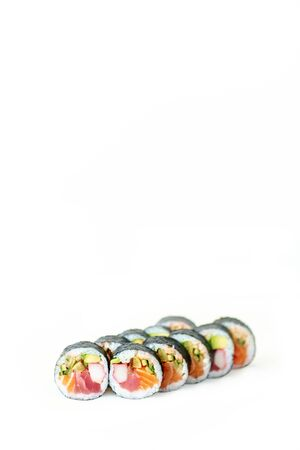 coo: Sushi standing on white background table
