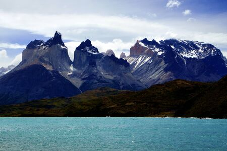 Cordillera Paine and Pehoe Lake in Torres del Paine National Park, Patagonia, Chile