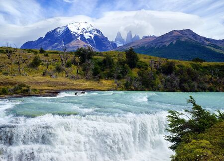 Torres del Paine National Park, River Paine Waterfall, Chile