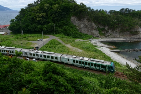 Scenery running on the Gono Line (cloudy rain) Fuaura-cho, Aomori Prefecture, Japan