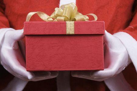 Santa Claus bedrijf geschenkkistje close up.