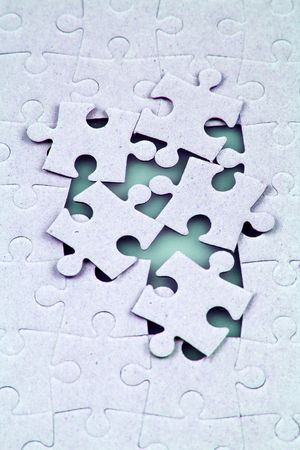 A close up shot of jigsaw puzzle. Stock Photo
