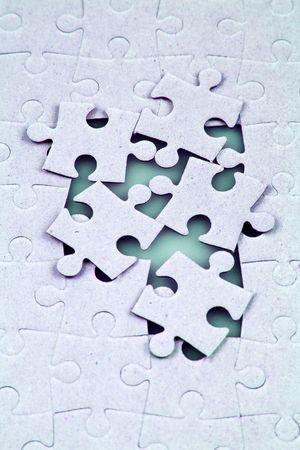 puzzelen: Een close-up shot van de puzzel.