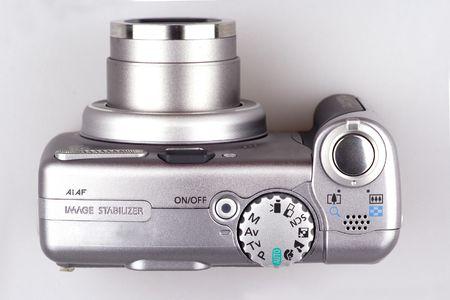 An 6x optical zoom digital camera close up. Stock Photo