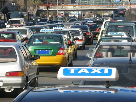 slow lane: A heavy taffic scene in asia country.