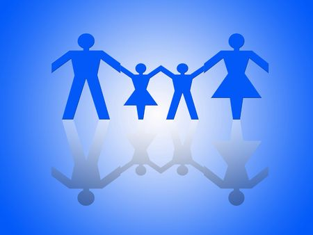 Group of paper chain people representing a family. Stock Photo - 665774