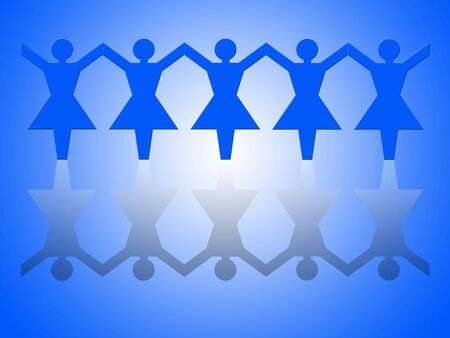 Group of female paper chain representing teamwork (hands up). Stock Photo - 665775