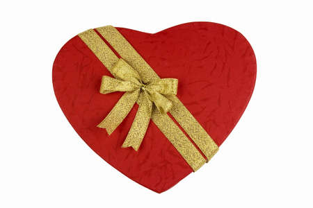 Red love shape gift box in isolated background. photo
