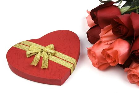 Roses with red love shape gift box. photo
