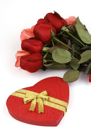 Rose with red love shape gift box. photo