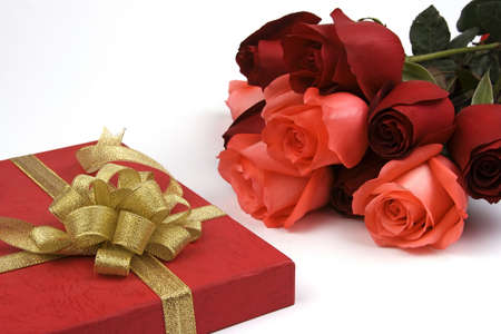 Rose with gift box in isolated background. photo