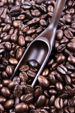 Some coffee bean with a wooden scoop. photo