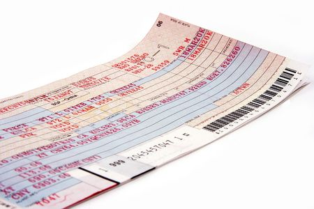Close up on an air plane ticket. Stock Photo