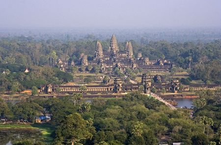 Angkor Wat birds eye view (due to the haze, the image is slightly grainy).  photo
