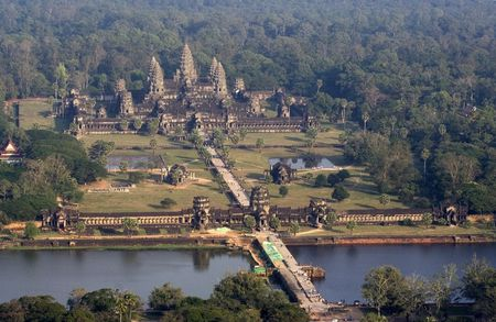 angkor: Angkor Wat birds eye view (due to the haze, the image is slightly grainy).  Stock Photo